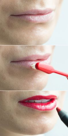 Make flaky lips smooth by applying a balm over your lips, and then exfoliating away any dead skin with a toothbrush.
