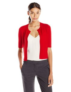 Lark & Ro Women's 100% Cashmere Cropped Cardigan Sweater at Amazon Women's Clothing store: