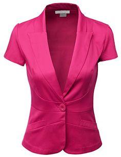 Doublju Women Short Sleeve Cotton Span Satin Fabric Blazer Quality Clothing on SALE ! Satin Jackets, Work Attire, Corsage, Satin Fabric, Plus Size Outfits, Jackets For Women, Fashion Outfits, Sleeves, How To Wear