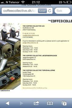 The Coffee Collective - utsalg og kaffebar inne på Torvhallerne, ved Nørrebro metro. Anbefales!