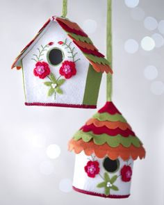 "Two ""Artisan"" Birdhouse Christmas Ornaments at Horchow. Pretty sure I can make this into a DIY ornament for 2013 Cute Crafts, Felt Crafts, Crafts For Kids, Paper Crafts, Diy Crafts, Felt Christmas, Christmas Crafts, Christmas Ornaments, Felt House"