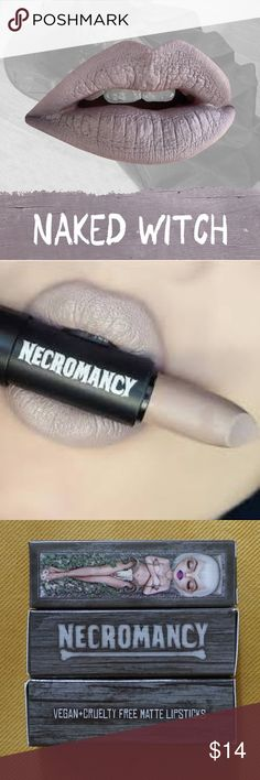 """Necromancy """"Naked Witch"""" Matte Lipstick New in box, only used for one lip swatch. Pale cool grey/beige/nude for all the goths, witches, and lippie enthusiasts. Vegan, cruelty free, amazing long lasting matte formula and super cool company. Even the packaging is gorgeous artwork! Bundle for discount and to save on shipping! Necromancy Makeup Lipstick"""