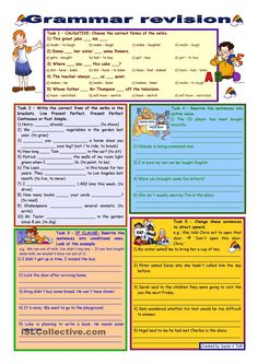 Grammar revision 3 *** 5 tasks *** for intermediate, upper-intermediate level *** 30 minute-test *** with key - ESL worksheet by Zsuzsapszi Basic Grammar, Grammar Book, English Grammar, English Language Learning, Teaching English, Learn English, English Class, Teaching Jobs, Teaching Resources