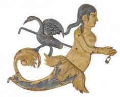 Painted Sheet Iron Mermaid Trade Sign, Early 20t