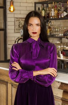 """Which Satin outfit here is the best to wear at work? Blouse Sexy, Blouse Outfit, Blouse Dress, Satin Bluse, Pencil Skirt Black, Pencil Skirts, Purple Satin, Purple Haze, Beautiful Blouses"