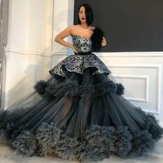 Black & Silver Tulle Sequined Dress – Dona Matoshi – … – Rebel Without Applause Ball Gowns Prom, Ball Dresses, Evening Dresses, Prom Dresses, Silver Evening Gowns, Dress Up, Tulle Dress, Elegant Dresses, Pretty Dresses