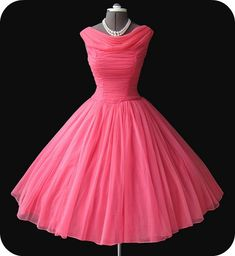 Vintage Dresses Simple Dress 2015 Prom Dresses, Vintage Watermelon Dresses, Short Prom Dresses Chiffon Prom Dresses - Vintage Cowl Neck Mid-Calf Ball Gown Peach Homecoming Dress with Pleats Vintage 1950s Dresses, Vintage Outfits, Vintage Fashion, Vintage Prom, Retro Dress, Vintage Clothing, Women's Clothing, 1950s Prom Dress, Wedding Vintage