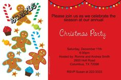Candy and Gingerbread Men Christmas Party Invitations - Get these cards RIGHT NOW. Design yourself online, download and print IMMEDIATELY! Or choose my printing services. No software download is required. Free to try!