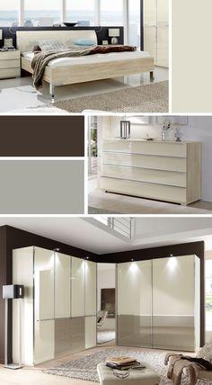 Exklusives Komplett-Schlafzimmer mit edlen Glas-Elementen. | Betten.de #schlafzimmer #luxus #elegant #creme #wohnen http://www.betten.de/schlafzimmer-eiche-dekor-modisch-farbiges-glas-banga.html