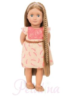Our Generation Dolls Hair Grow Portia. Portia is one of Our Generation's clever dolls with growing hair. The plaits you can see in the photograph can be undone and that section of hair retracted using a dial in the dolls back.