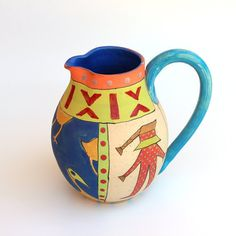 A Naive Painted Pitcher Hand Painted Ceramic by IritPottery