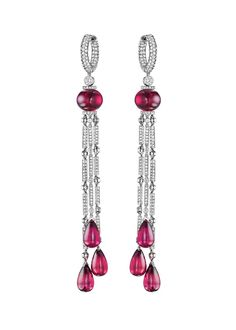 Jacob & Co. platinum Harlequin rubellite drop earrings featuring two round rubellites and six drop rubellites highlighted with brilliant-cut diamonds