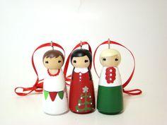 Cute little peg doll ornaments.