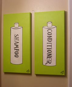 """Shampoo"" and ""Conditioner"" (2011) latex paint, laser printer copy, acrylic paint."