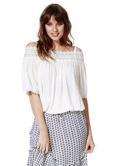 Clothing at Tesco | F&F Crochet Trim Cold Shoulder Top > tops > Women's Tops & T-Shirts > Women