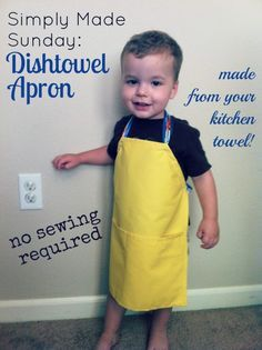 Make a kids' Apron from a kitchen towel! No Sewing required!** Going to make a set and colour code for classroom activities