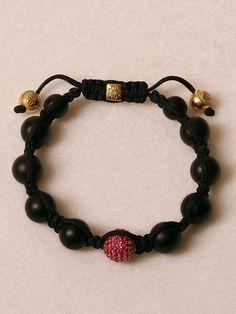 Shamballa Jewels 18k Yellow Gold Ruby Pave Bead Bracelet at London Jewelers!
