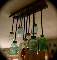 Mason Jar Chandelier Light Fixture. $525.00, via Etsy.