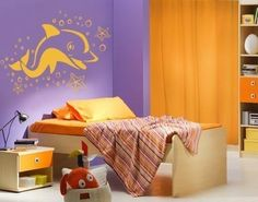 Dolphin with Sea Stars Wall Decal