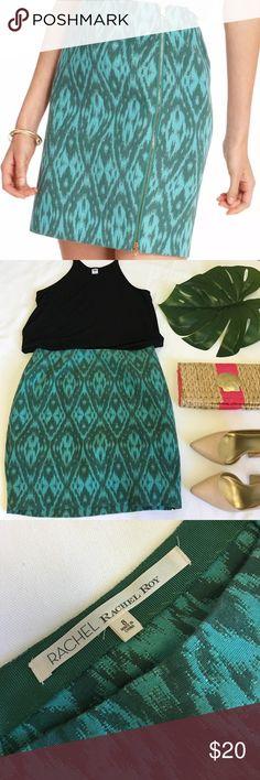 Rachael Roy Emerald Jacquard Skirt Great pop of color for your work week! Bold teal/ emerald jewel tone geometric jacquard pattern. Exposed side zipper! RACHEL Rachel Roy Skirts