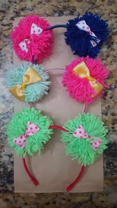 Items similar to 10 Headbands - Pom Pom Ears lol Headbands / Party Favors /Teddy Bear EARS / Colofull ears / Ears Headband / Wool Headbands on Etsy Diy Doll Costume, Diy Costumes, Crazy Hat Day, Crazy Hats, Diy Headband, Ear Headbands, Party Favors, Diy And Crafts, Crafts For Kids