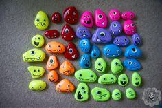 Monster painted rocks . Glow in the dark googly eyes Painted Panda Designs