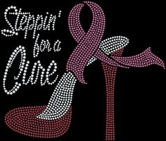 Rhinestone T- Shirt,Steppin for a cure, Breast Cancer, Awareness Clothing, Bling Tee, Sparkle Shirt, Black Stretch by KustomKreativeImages on Etsy