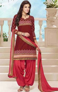 Picture of Admirable Maroon Color Patiala Kameez