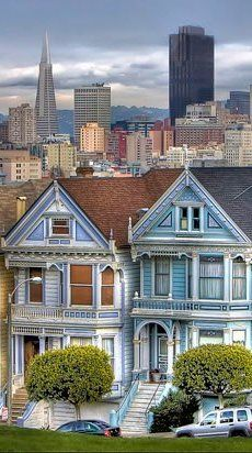 San Francisco, California---The Painted Ladies.  I sat in that exact spot and drew these...Hayes Street hill.  :)