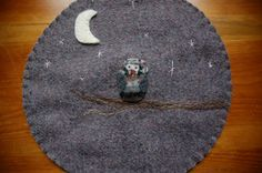 Wool trivet   Owl at night by LittleWool on Etsy