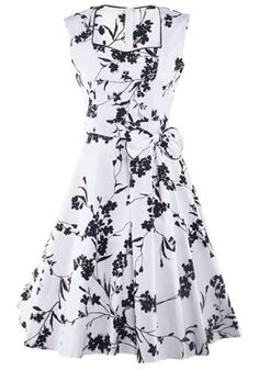 YACUN Women's Vintage Floral 1920s Rockabilly Swing Cocktail Party Dress 1313_S