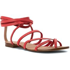 Splendid Women's Carly Sandals (170 CAD) ❤ liked on Polyvore featuring shoes, sandals, coral, lace up gladiator sandals, lace up flat sandals, ankle wrap sandals, summer flat sandals and ankle strap sandals