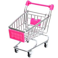 Wholesale Mini Shopping Cart Realistic Trolley Toy Metal Material - 12cm Height (PINK) | Everbuying