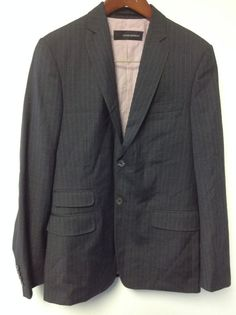 MEN'S DSQUARED WOOL SPORT JACKET BLAZER SZ 48 GRAY PIN STRIPE 2 BUTTON FRONT #DSQUARED #SPORTJACKET