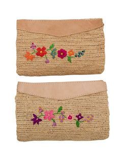 Rice DK Clutch Handbag Pretty and feminine Clutch handbags, great for summer days or evenings. The bag is natural crochet Raffia with Flower Embroidery