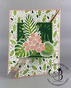 Stampin' Up! Tropical Chic diagonal gate fold fancy fold technique handmade card by Lisa Ann Bernard of Queen B Creations
