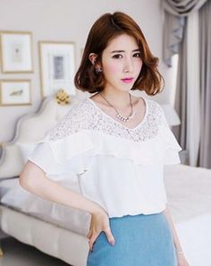 Lace And Frilled Neckline Top whiteMT054