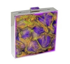 Metal Hand Clutch Purse Hand Painted Evening Box Clutch Bag 5 x 5 Purple Quartz Inspired Lime and Gold with a Glossy Enamel Finish. $148.00, via Etsy.