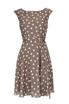Petite Taupe Polka Dot Print Fit and Flare Dress
