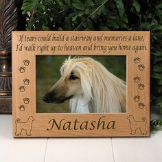 Memorial Afghan Hound Dog Picture Frame
