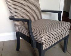 Parker Knoll Armchair Slate Grey upholstered in Romo's Foley Steeple Grey