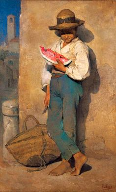 Rascal eating watermelon, 1880 by Periklis Pantazis (1849-1884)