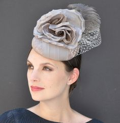 fd26ffd988a7 Kentucky Derby Hat, Wedding Fascinator, Wedding Hat, Ascot Hat, Gray  Fascinator Hat, Church Hat, Formal hat, Occasion Hat