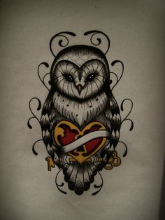 Owl lock n heart