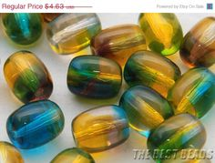 ON+SALE+30pcs+Yellow+and+Blue-Green+Barrels+by+TheBestBeadsShop