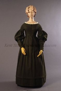 (w/o pelerine) - Maternity dress, circa 1837 (marked as circa 1827), USA, Kent State, via Old Rags.