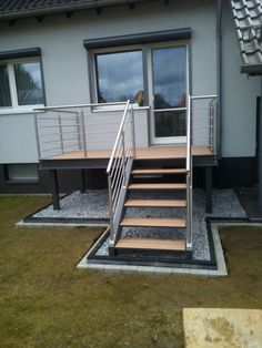 Locksmith + metal construction Wendt Stahl and more! Braunschweig, locksmith, metalwork … - All About Balcony Entry Stairs, Exterior Stairs, Staircase Outdoor, Window Bars, Balkon Design, Steel Stairs, Balcony Railing, Front Steps, Backyard