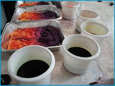 Hand dyeing yarn in multicolors