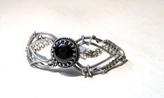 Handmade sterling silver Onyx bracelet