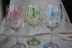 Mommy est. 2014  wine glass.  TheVinylChick, $12.00